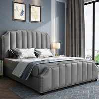 Product photograph showing Abilene Plush Velvet Super King Size Bed In Grey