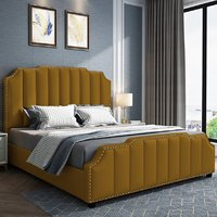 Product photograph showing Abilene Plush Velvet Super King Size Bed In Mustard