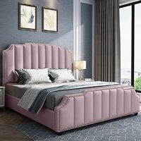 Product photograph showing Abilene Plush Velvet Super King Size Bed In Pink