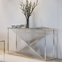 Product photograph showing Abrstact Glass Console Table With Polished Stainless Steel Frame