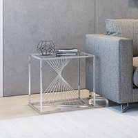 Product photograph showing Abrstact Glass Side Table With Polished Stainless Steel Frame