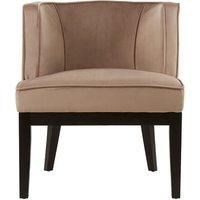 image-Adaline Rounded Velvet Upholstered Bedroom Chair In Brown