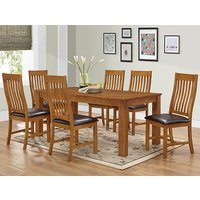 Adderley Wooden Dining Set In Walnut With 6 Dining Chairs
