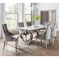 Adele Marble Dining Table With 6 Enmore Pewter Chairs