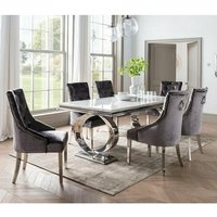 Adele Marble Dining Table With 8 Enmore Charcoal Chairs