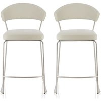 Product photograph showing Adelina Contemporary Bar Stool In Taupe Faux Leather In A Pair