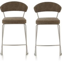 Product photograph showing Adelina Retro Bar Stool In Taupe Faux Leather In A Pair