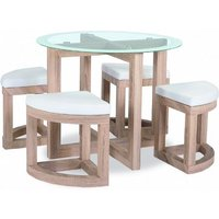 Adelphi Glass Dining Table Set Round In Beech Effect