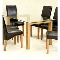 Adina Large Glass Dining Table With Oak Legs