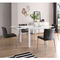 Product photograph showing Adora Extendable Glass Dining Table In White With 4 Grey Chairs