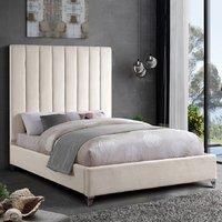 Aerostone Plush Velvet Upholstered Single Bed In Cream