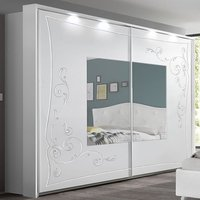 Product photograph showing Agio Led Mirroed Wooden Wardrobe In Serigraphed White