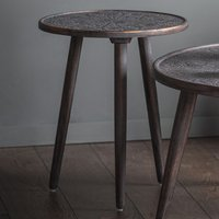 Product photograph showing Agra Wooden Side Table In Grey Copper