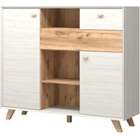 Aiden Wooden Chest Of Drawers In White Pine And Navarra Oak