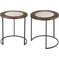Product photograph showing Akela Set Of 2 Small Round Glass Top Side Tables In Copper