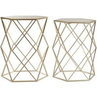Aladin Mirror Top Set of 2 Side Tables In Gold With Metal Frame