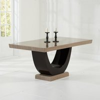 Allie Marble Dining Table In Light And Dark Brown