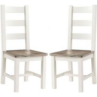 Product photograph showing Alaya Ladderback Style Dining Chair In Stone White In A Pair