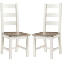 Product photograph showing Alaya Ladderback Style Dining Chair In Stone White