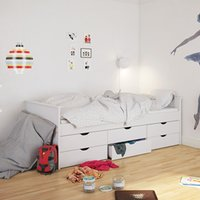 Alba Wooden Single Bed In Pure White With 6 Under Drawers