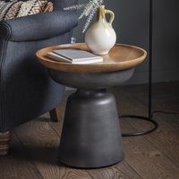 Product photograph showing Albama Wooden Side Table In Natural And Black