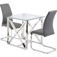 Product photograph showing Albany Glass Square Dining Set In Clear With 2 Soho Chairs