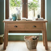 Albas Wooden Console Table In Planked Solid Oak With 2 Drawers