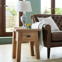 Albas Wooden Lamp Table In Planked Solid Oak With 1 Drawer