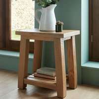 Albas Wooden Lamp Table In Planked Solid Oak With Shelf