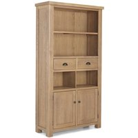 Albas Wooden Tall Bookcase In Planked Solid Oak