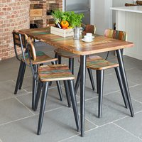 Product photograph showing Albion Large Dining Table In Reclaimed Wood With 4 Chairs