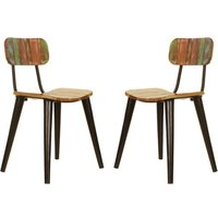 Product photograph showing Albion Reclaimed Wood Dining Chairs In Pair