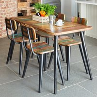 Product photograph showing Albion Small Dining Table In Reclaimed Wood With 4 Chairs