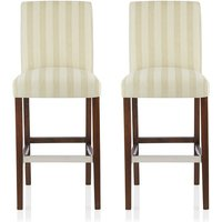 image-Alden Bar Stools In Cream Fabric And Walnut Legs In A Pair