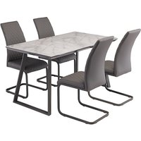 Alden Marble Dining Table In Grey With 4 Hudson Grey Chairs