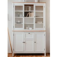 Product photograph showing Alder Wooden Display Cabinet And Sideboard In White And Artisan Oak