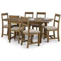 Alecia Extending Dining Table In Rough Sawn Pine With 4 Chairs