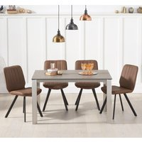Alejeno Brown Ceramic Dining Table With 4 Brown Damanti Chairs