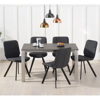 Alejeno Mink Ceramic Dining Table With 4 Grey Damanti Chairs