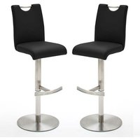 Alesi Black GasLift Bar Stool With Stainless Steel Base In Pair