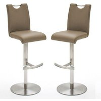 Alesi Cappuccino Gas Lift Bar Stool With Steel Base In Pair