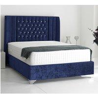Alexandria Plush Velvet Upholstered Single Bed In Blue