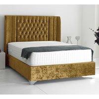 Alexandria Plush Velvet Upholstered Single Bed In Mustard