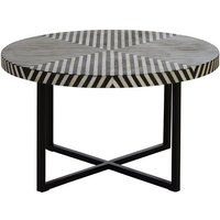 Product photograph showing Algieba Cross Base Wooden Coffee Table In Monochromatic Effect