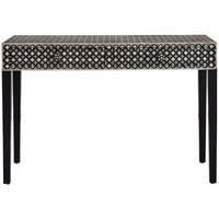 Product photograph showing Algieba Exotic Patterend Wooden Console Table In Black
