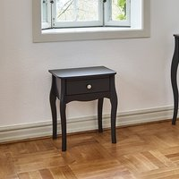 Alice Wooden Bedside Cabinet In Black With 1 Drawer