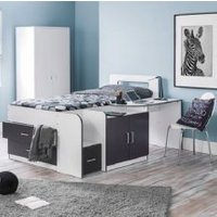 Product photograph showing Alicia Storage Cabin Bed In White And Charcoal Grey With Desk