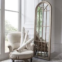 Product photograph showing Leona Floor Mirror In Weathered With Panelled Window Style