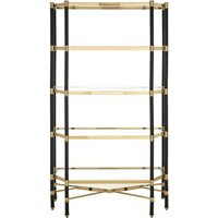 Allessa Clear Glass Bookcase In Champagne With 5 Shelves