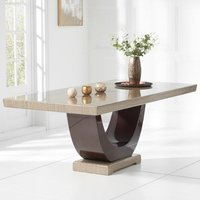 Aloya Marble Large Dining Table In Light And Dark Brown
